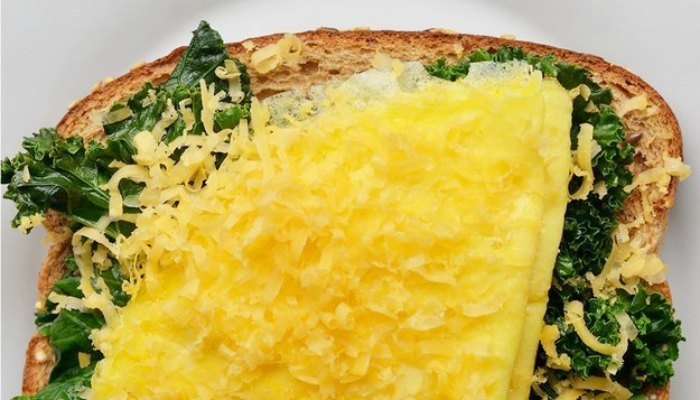 Breakfast with eggs and kale