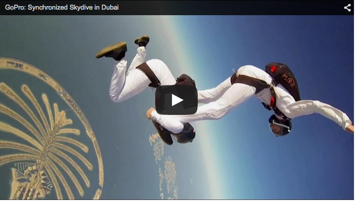 skydivers dancing over the Palm Dubai