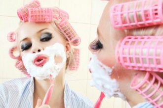 woman shaving facial
