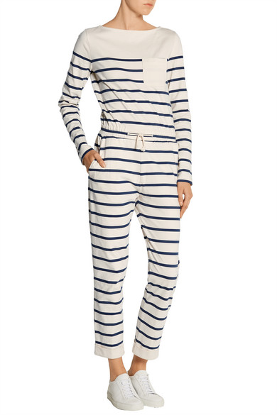Solid & Striped Breton striped cotton-jersey jumpsuit