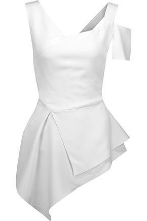 Brand New Antonio Berardi Woman Asymmetric Crepe Peplum Top White Size 46.