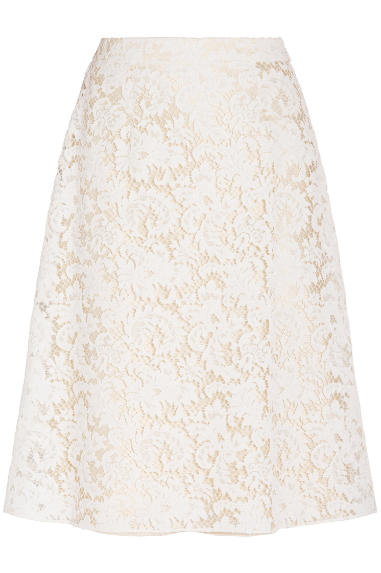 Brand New Saint Laurent Guipure Lace Pencil Skirt Beige with TAGS in Size F38.